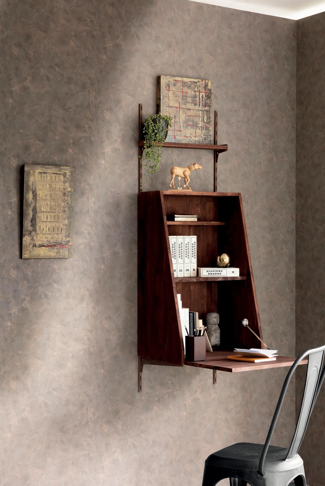Amb Papier peint Effet béton taupe cuivré - Patine de Casélio | Réf. PAI100222234