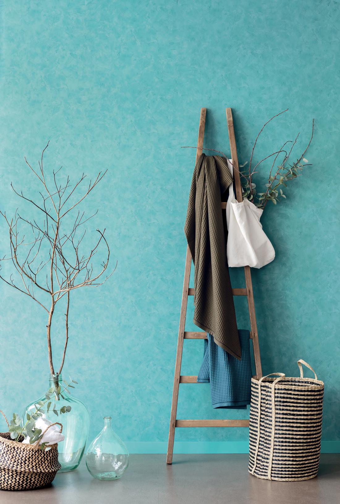 Amb Papier peint Effet béton turquoise - Patine de Casélio   Réf. PAI100226160