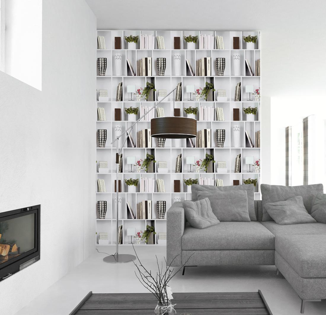 Papier Peint Entree Moderne papier peint bibliothèque moderne - reality 3 de lutèce