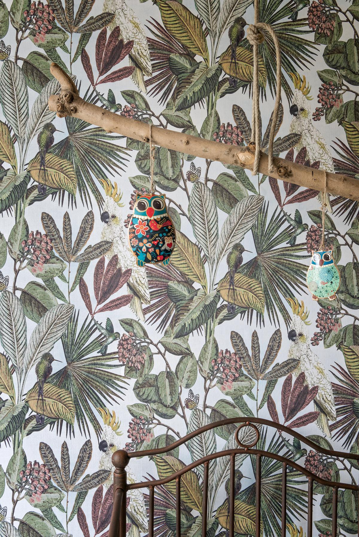 Papier peint Oiseaux tropicaux bleu clair - Savana de Lutèce AMB | Réf. LTC-SAV122