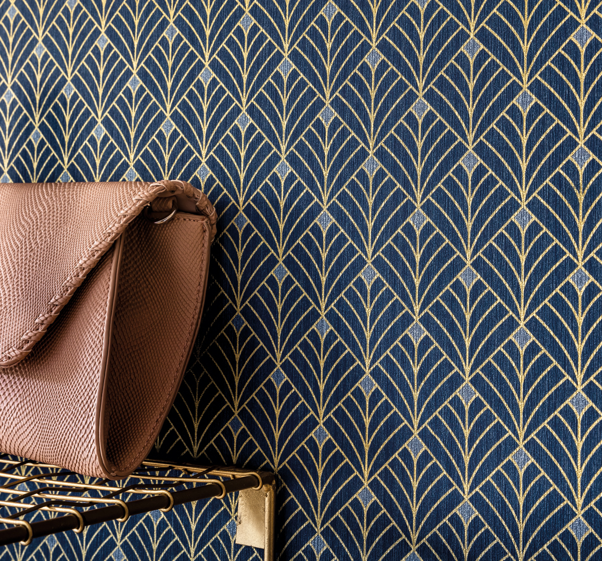Papier Peint Deco Marine papier peint art déco mistinguett bleu marine/or - scarlett