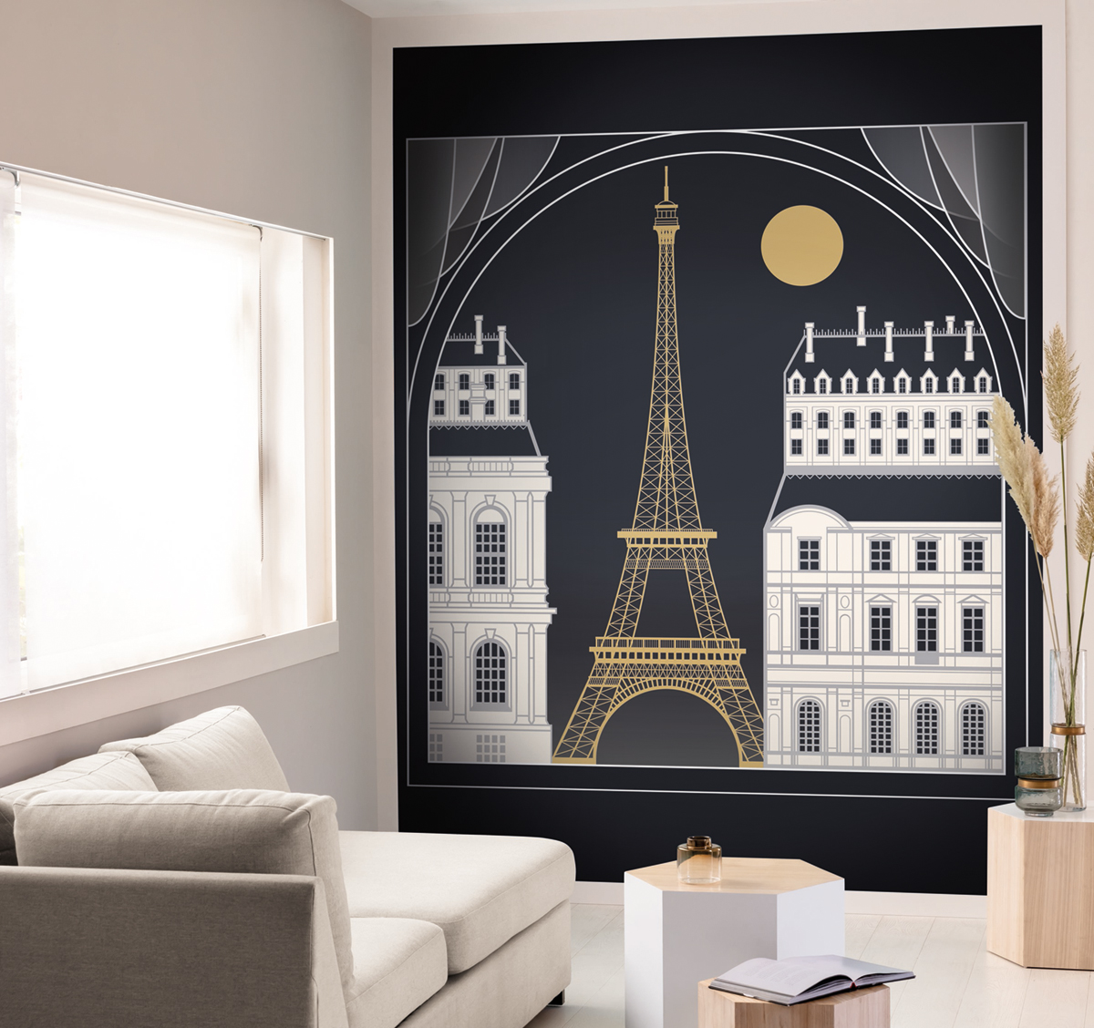 Papier peint Panoramique Tour Eiffel Paris BY NIGHT - Scarlett de Casélio AMB | Réf. SRL100529899
