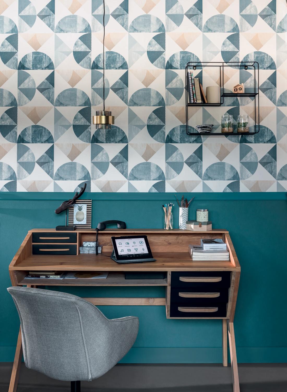 Amb 2 Papier peint Uni bleu canard - Spaces de Casélio   Réf. SPA64526060