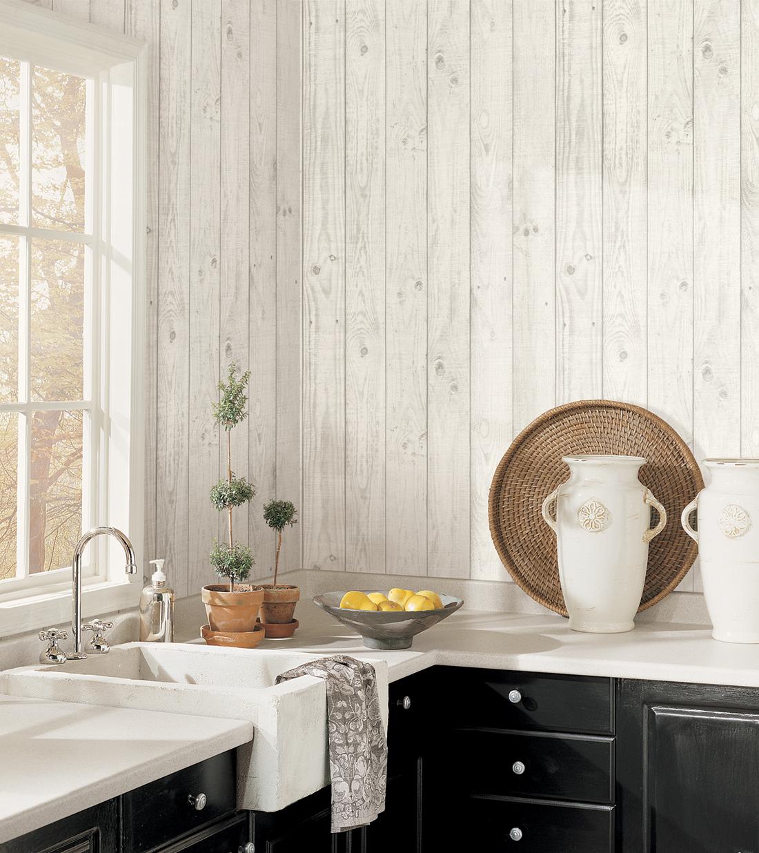 Cuisine Gris Clair papier peint planche de bois gris clair - style cuisine 3 de