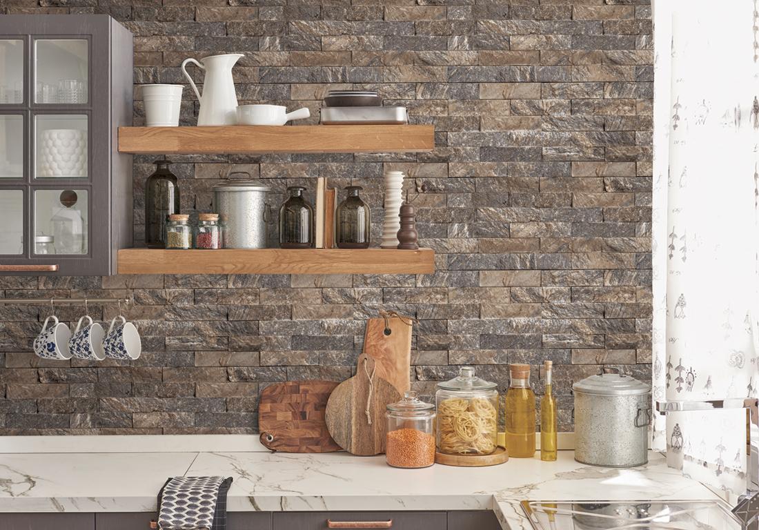 Papier Peint Brique Cuisine papier peint pierre parement gris/taupe - style cuisine 3 de