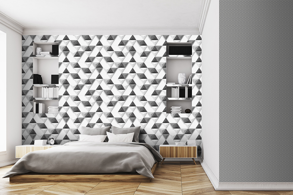 Papier Peint Noir Et Blanc Graphique papier peint 3d triangles noir et blanc - hexagone d'ugépa