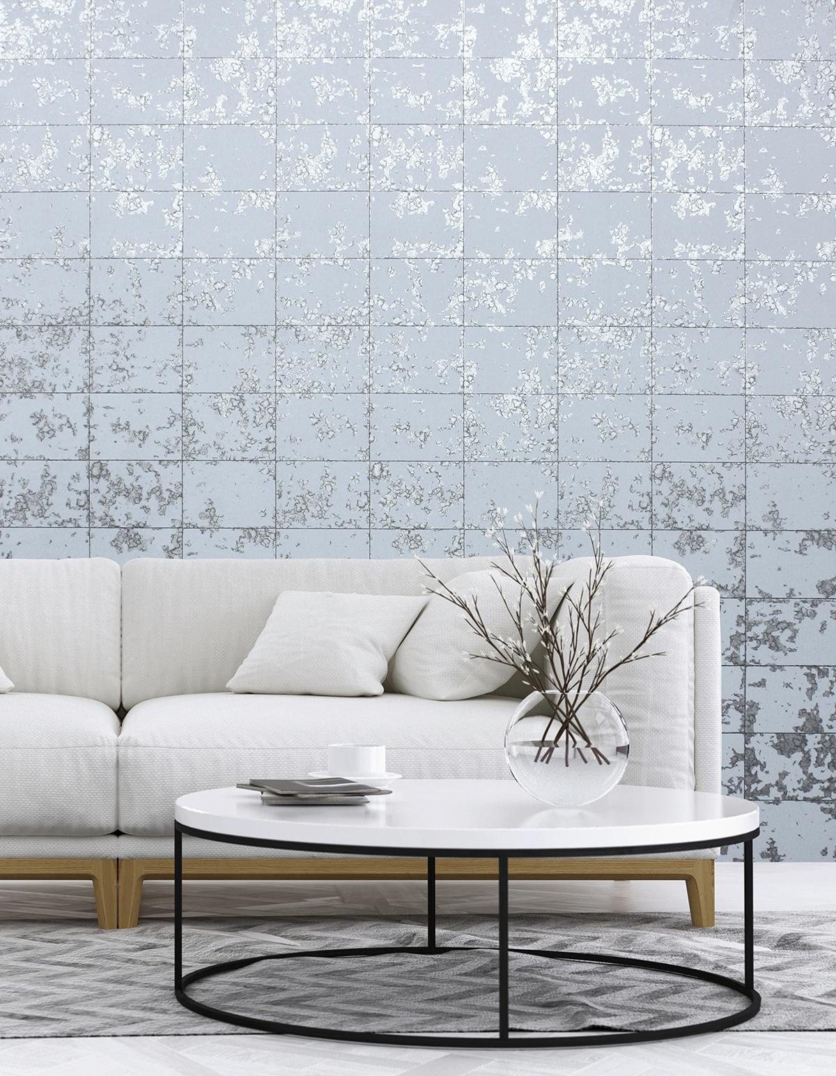 Papier Peint Effet Miroir papier peint dalle miroir gris bleuté - hexagone d'ugépa