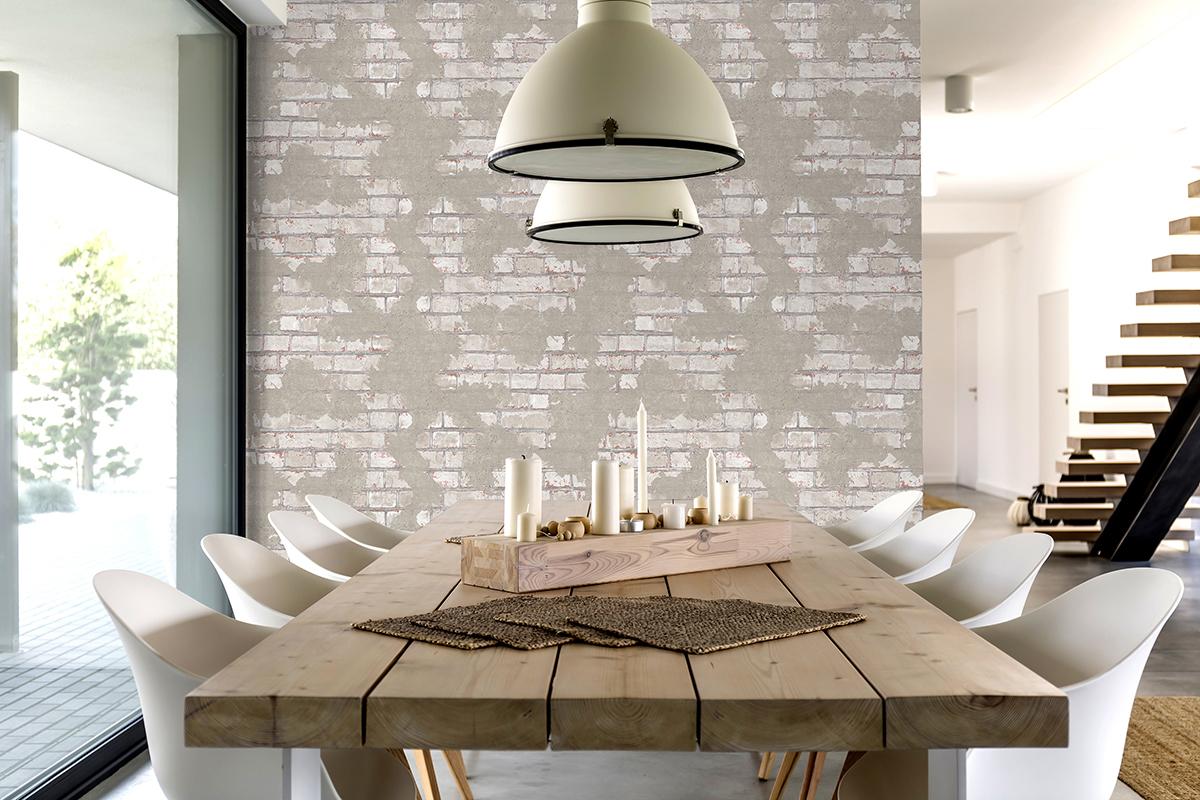 Couloir Couleur Taupe Et Lin papier peint brique lin béton taupe - reflets d'ugépa