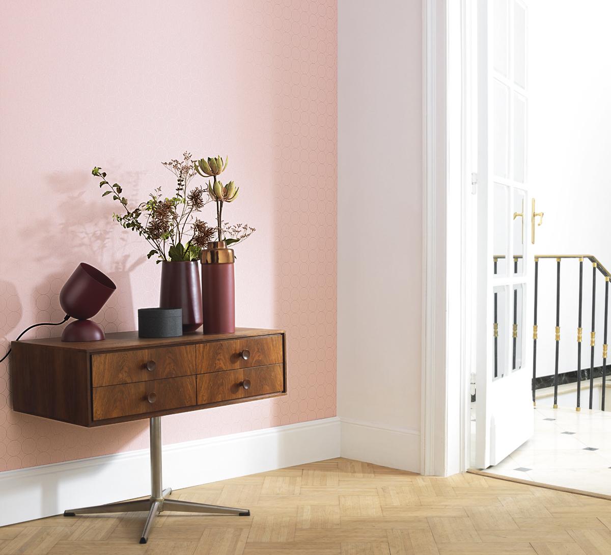 Papier peint scandinave Disques rose nude - Vision de Casadéco AMB | Réf. VISI83684220