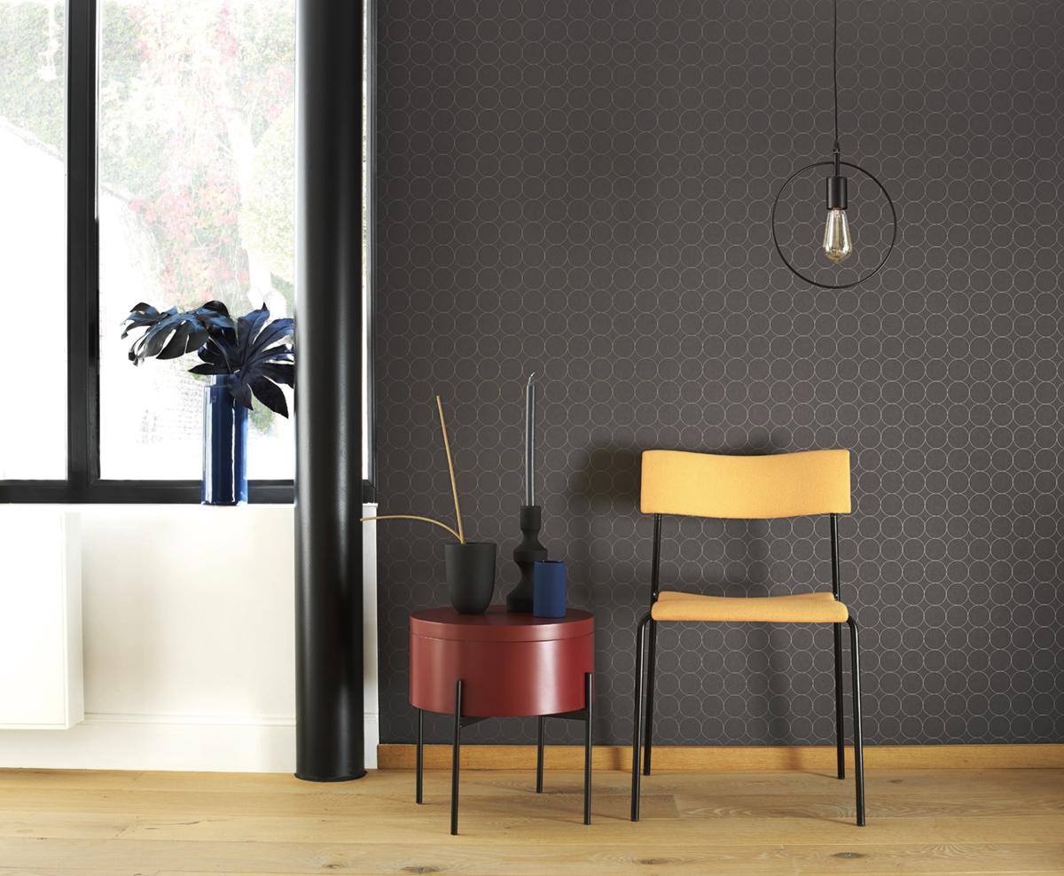 Papier peint scandinave Disques noir - Vision de Casadéco AMB   Réf. VISI83689505