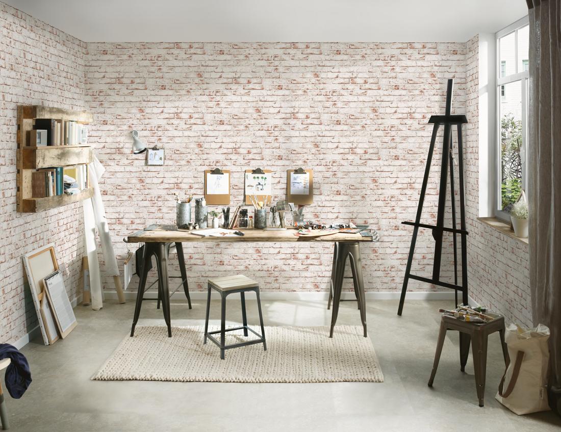 Papier Peint Brique Cuisine papier peint briques blanches et brique - wood n stone 2 d