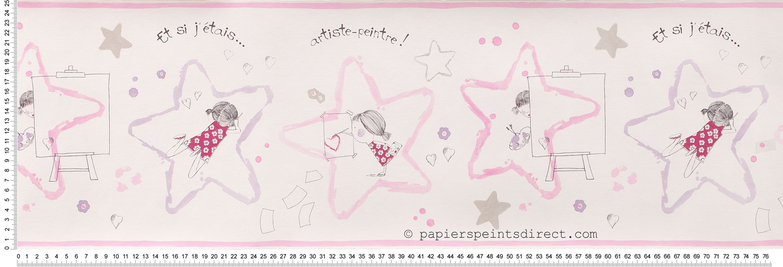 Frise artiste fille parme et rose - Papier peint Arc en ciel de Casadéco