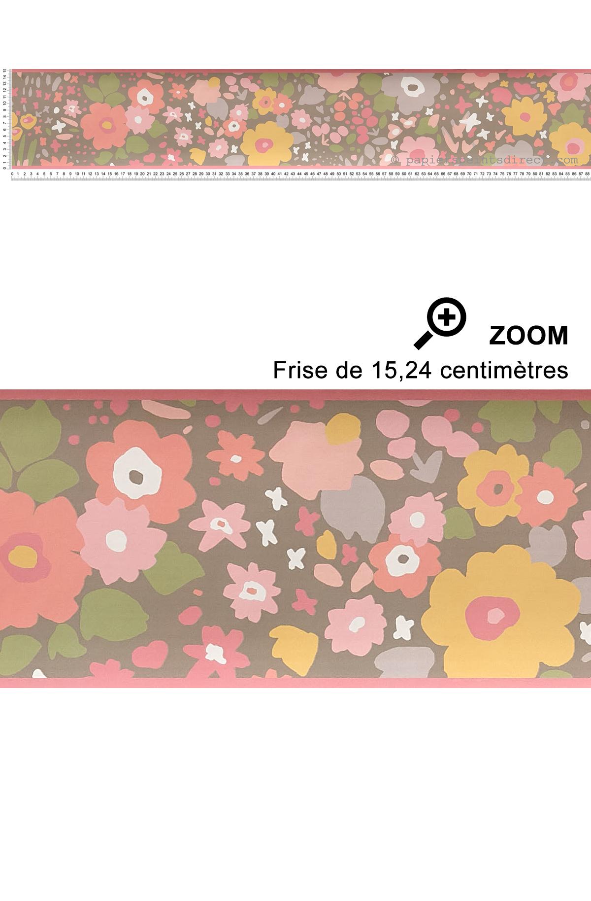 Frise fleurs rose marron - Collection Dwell Studio de York by Initiales