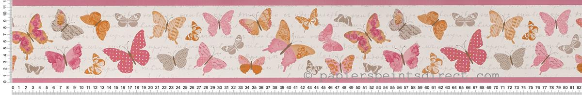 Frise papillons rose-orange - Collection Pretty Lili de Casélio