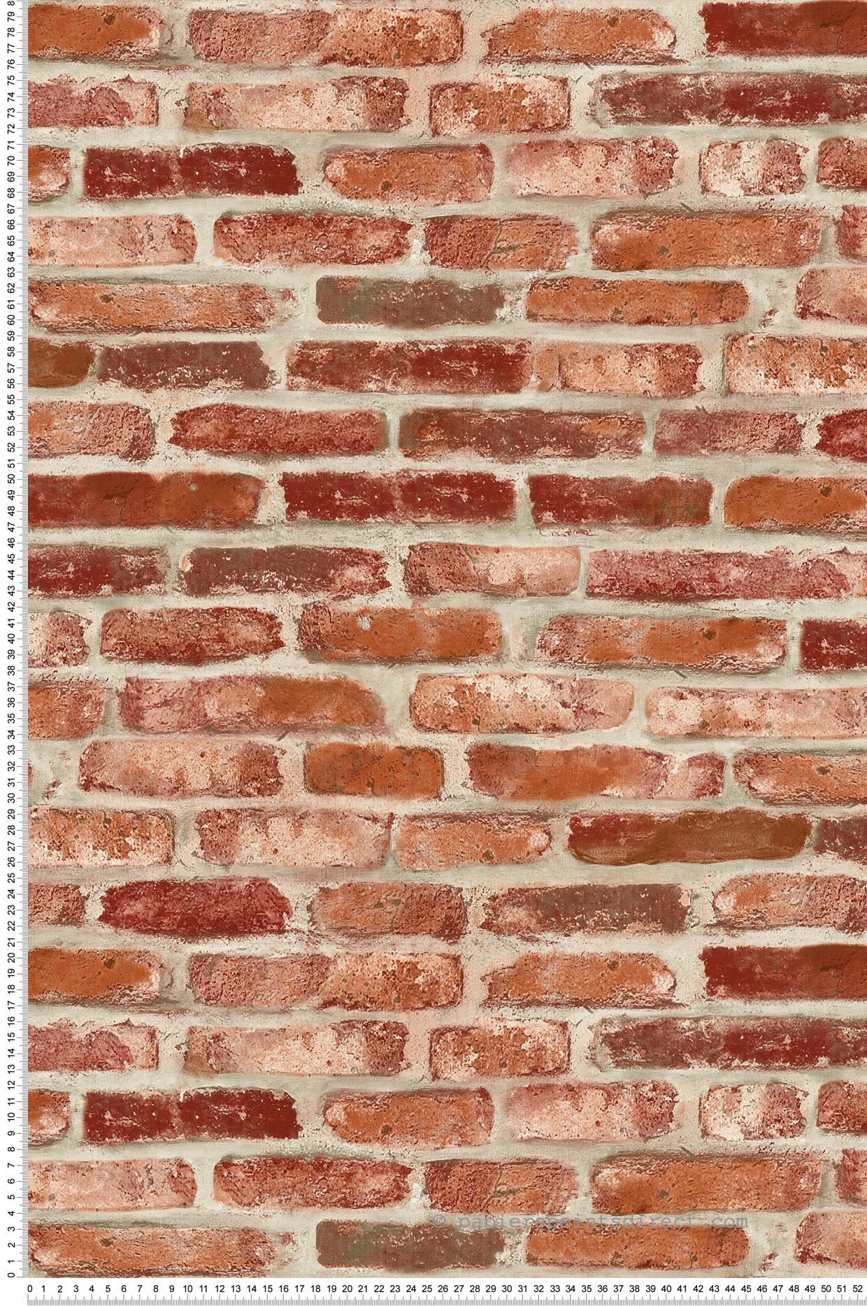 Papier Peint Brique Cuisine papier peint brique rouge - 3d wall de lutèce | réf. ltc-td30201