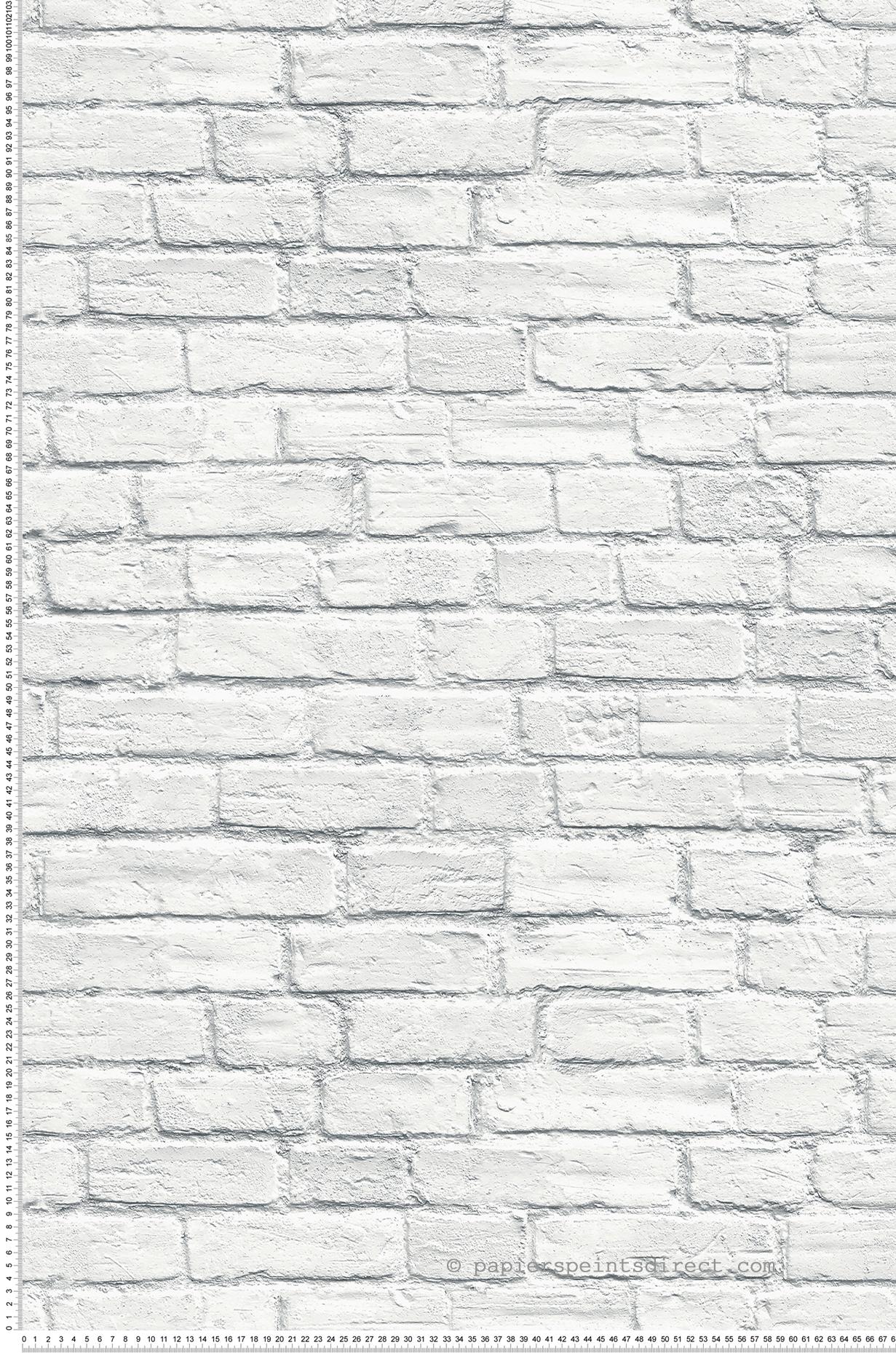Mur Effet Brique Blanche papier peint brique blanche - 3d wall de lutèce   réf. ltc