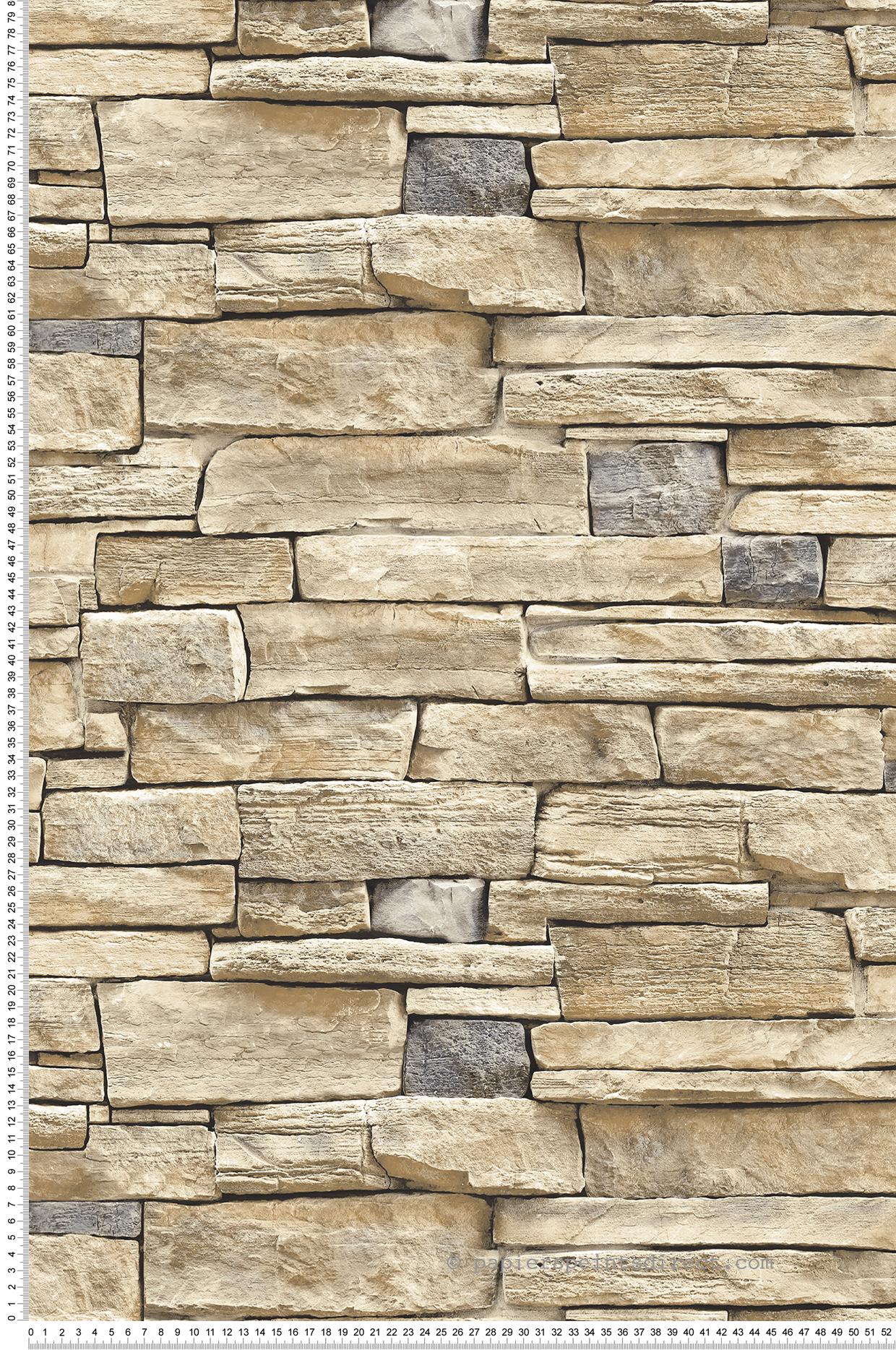 Mur En Pierre Interieur Beige papier peint mur de pierre beige clair - 3d wall de lutèce