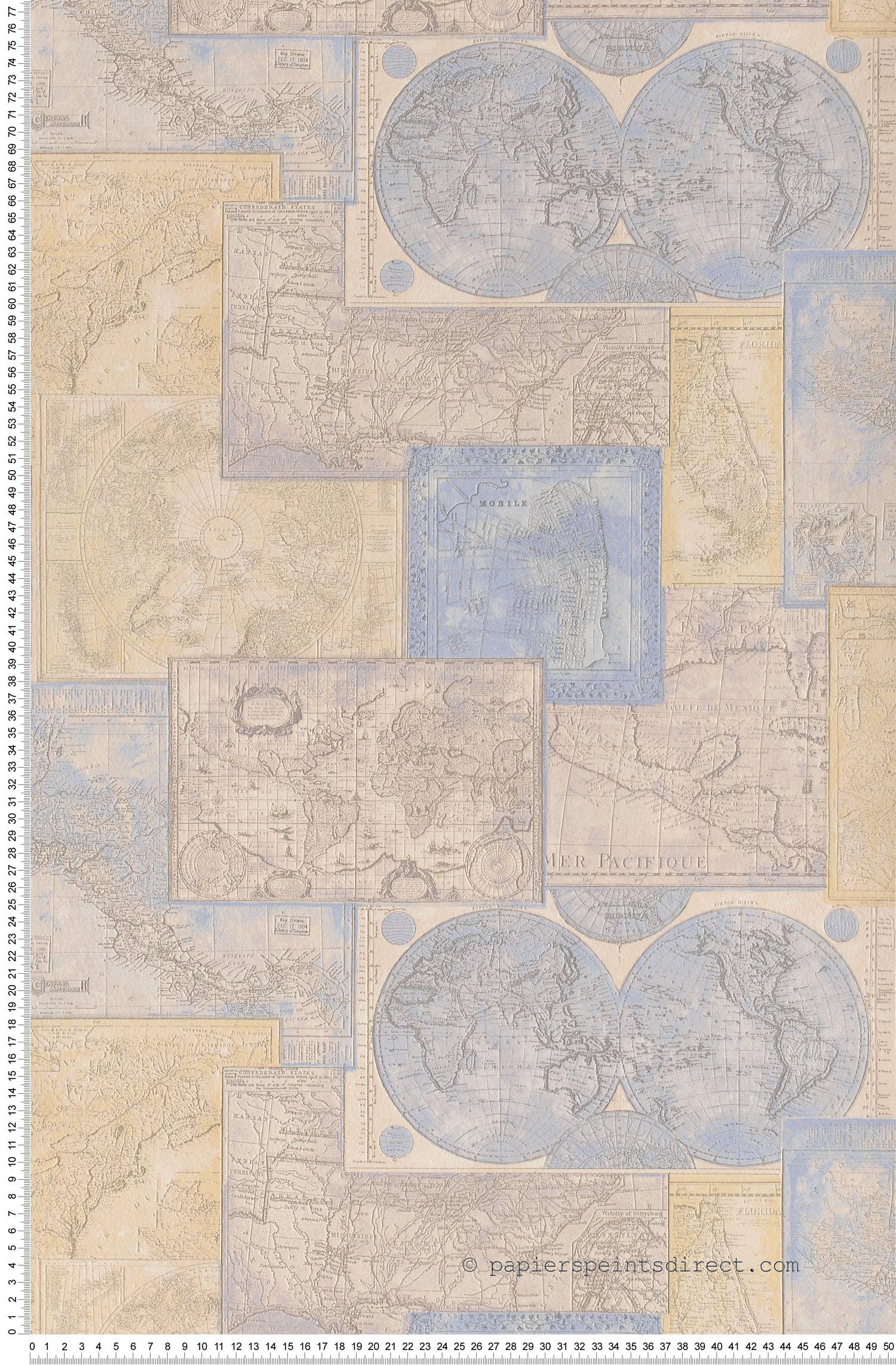 Papier peint Cartes du monde bleues - Dekora Natur et Simply Decor AS Création   Réf. SP03954