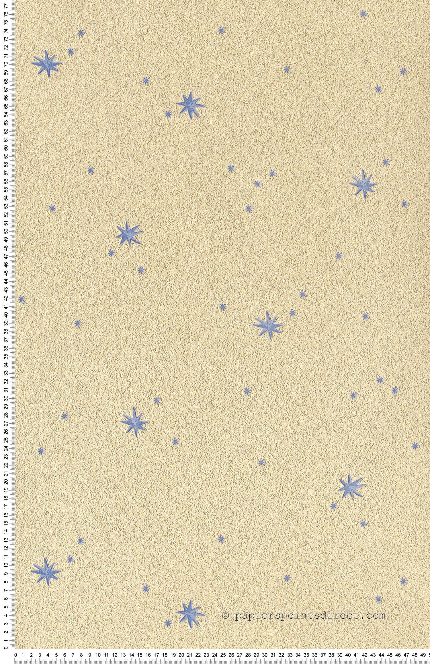 Etoiles bleues et ciel jaune pâle - Papier peint Dekora Natur d'AS Création