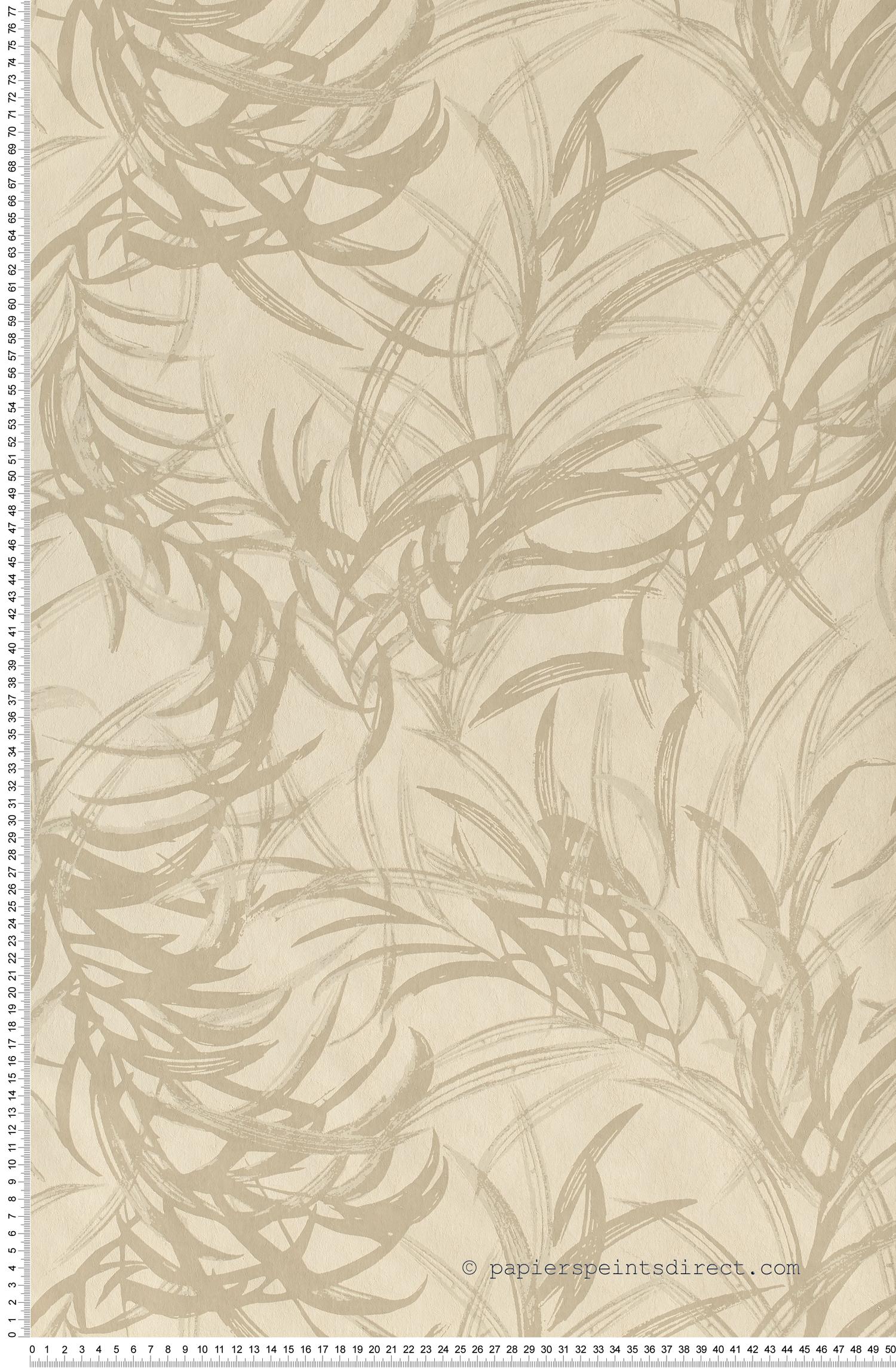 Feuilles bambous beiges - Papier peint Jardin d'hiver de Montecolino