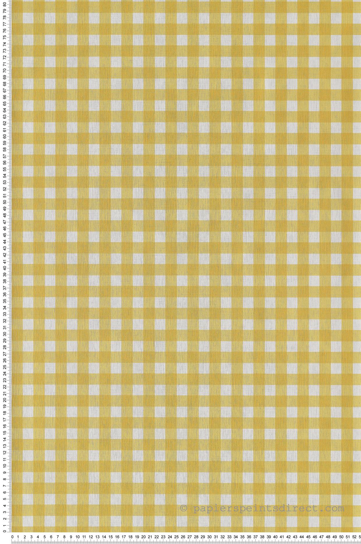 Papier peint Vichy Marmelade jaune - Au Bistrot d'Alice de Casélio   Réf. BIS100662020