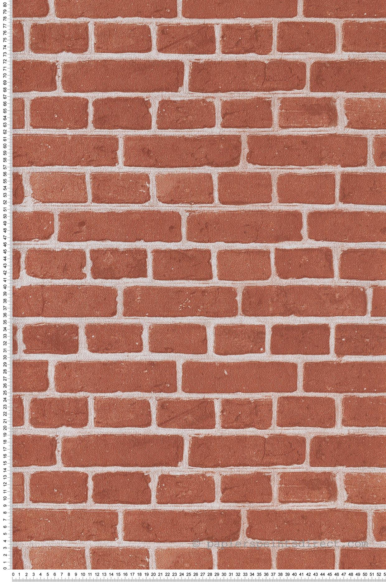 Papier peint Briques rouges terracotta - Au Bistrot d'Alice de Casélio | Réf. BIS100688083