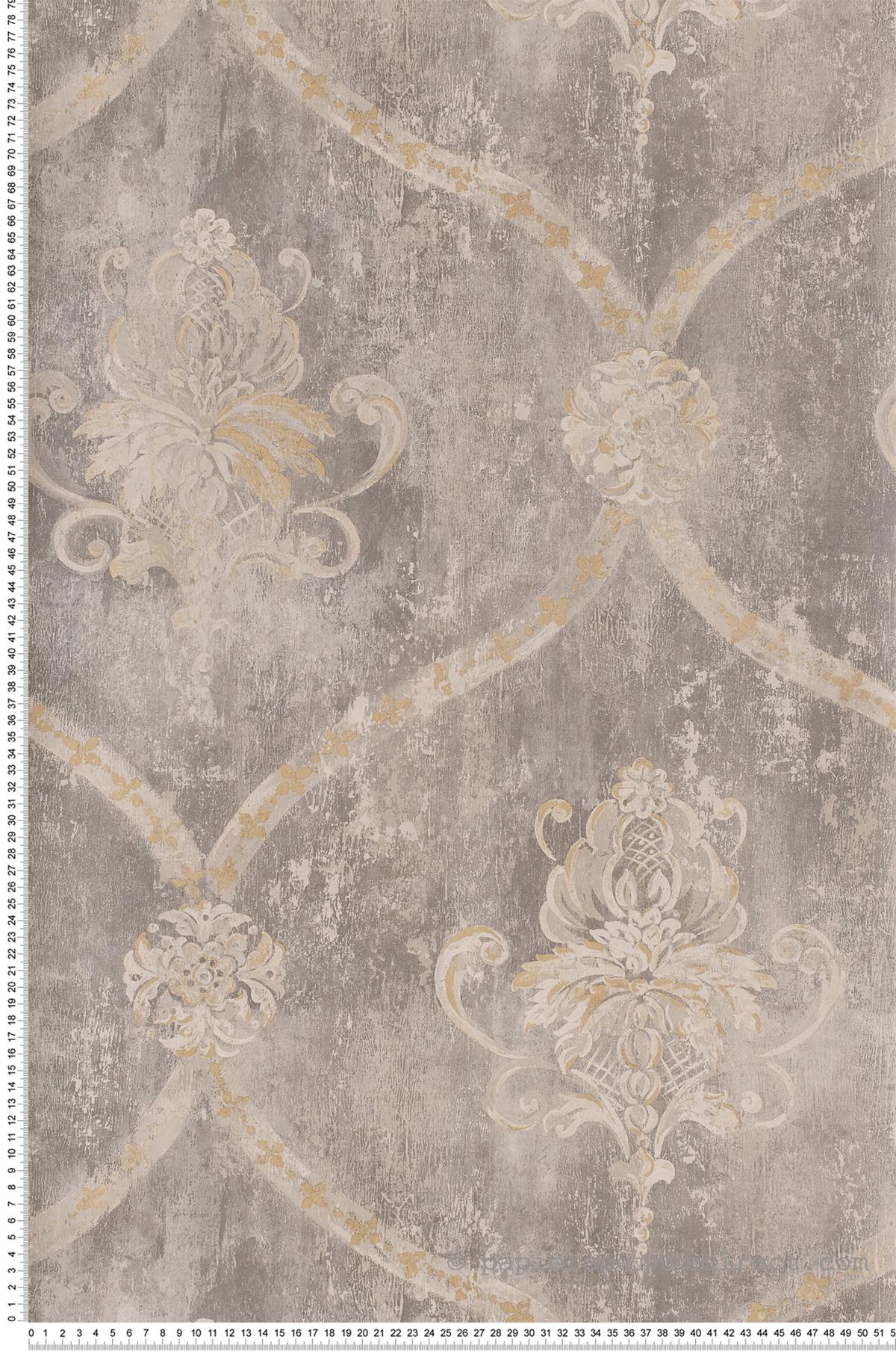 Papier peint Médaillon veilli gris - Beaumanoir de Lutèce | Réf. LTC-MH36506