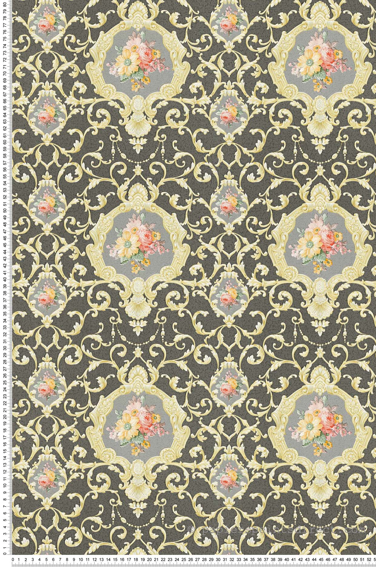 Papier peint Chenonceau fleur gris-noir - Château 5 AS Création | Réf. SP04205