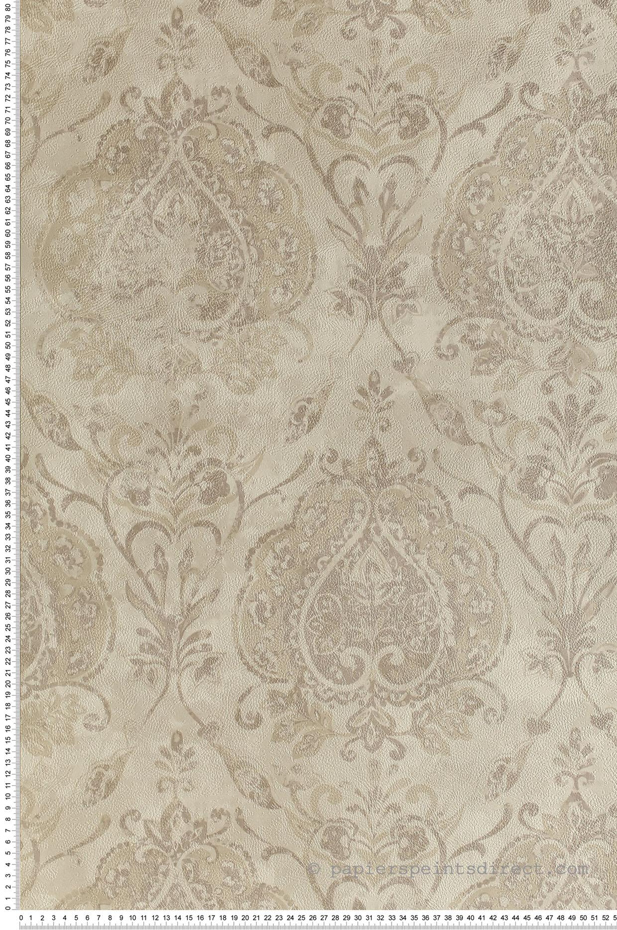 Papier peint vintage Damassé gris clair - Cordoba de Montecolino | Réf. MC-3720