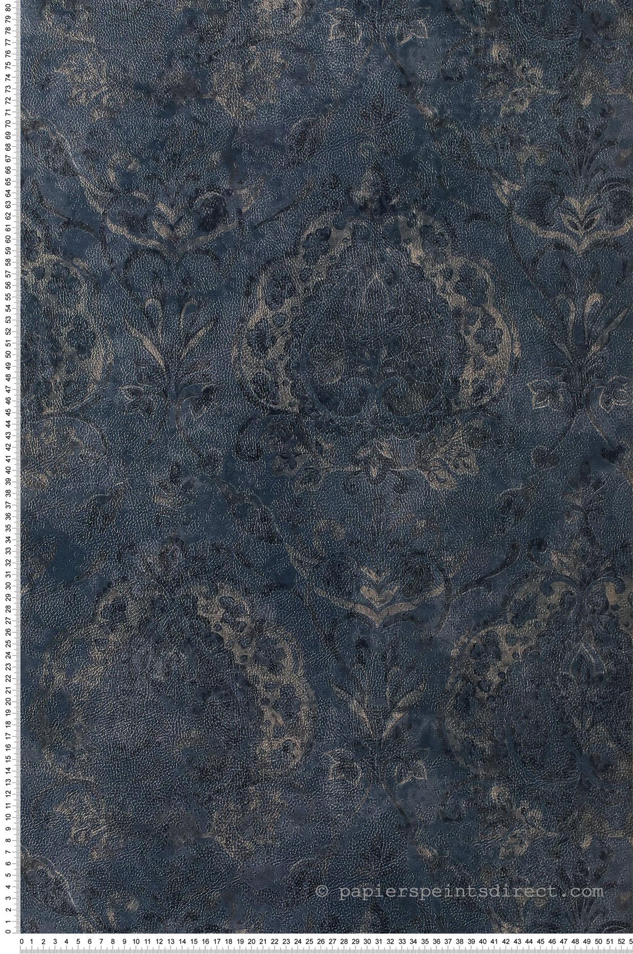 Papier peint vintage Damassé bleu foncé - Cordoba de Montecolino   Réf. MC-3727