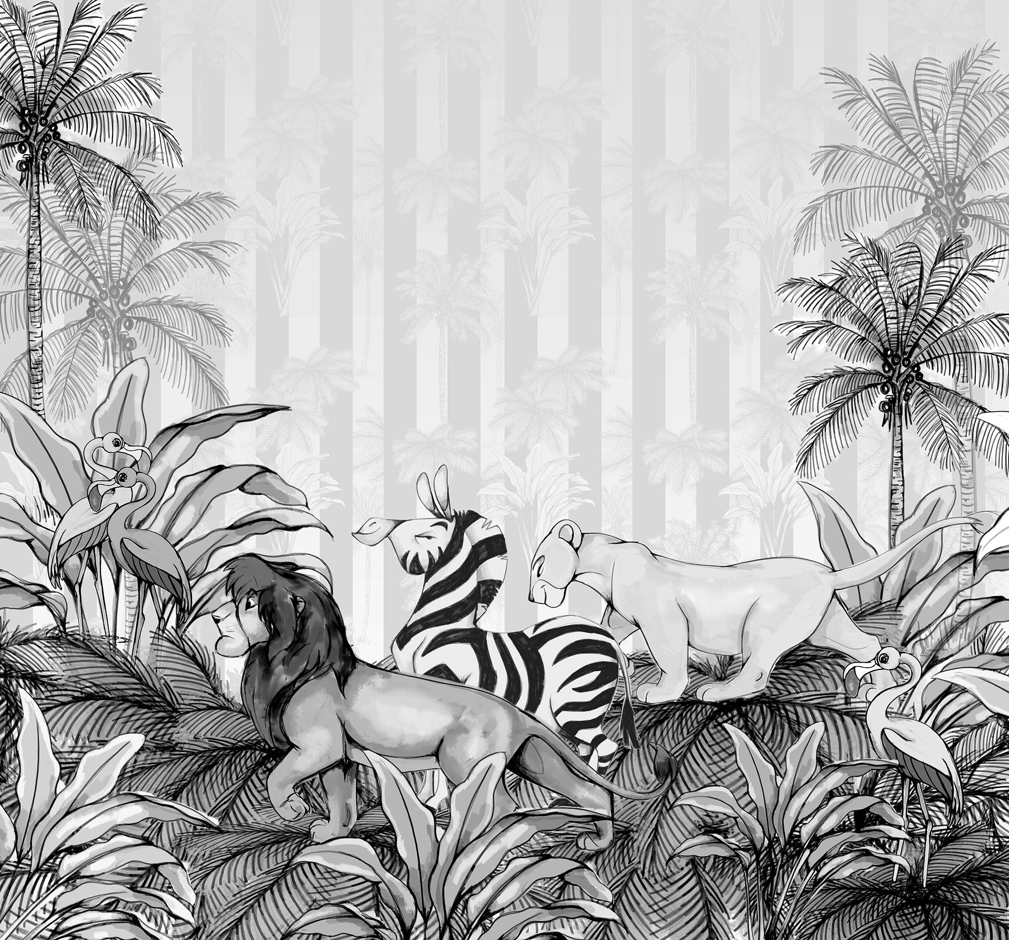 Papier Peint Panoramique Noir Et Blanc papier peint enfant disney jungle roi lion noir et blanc