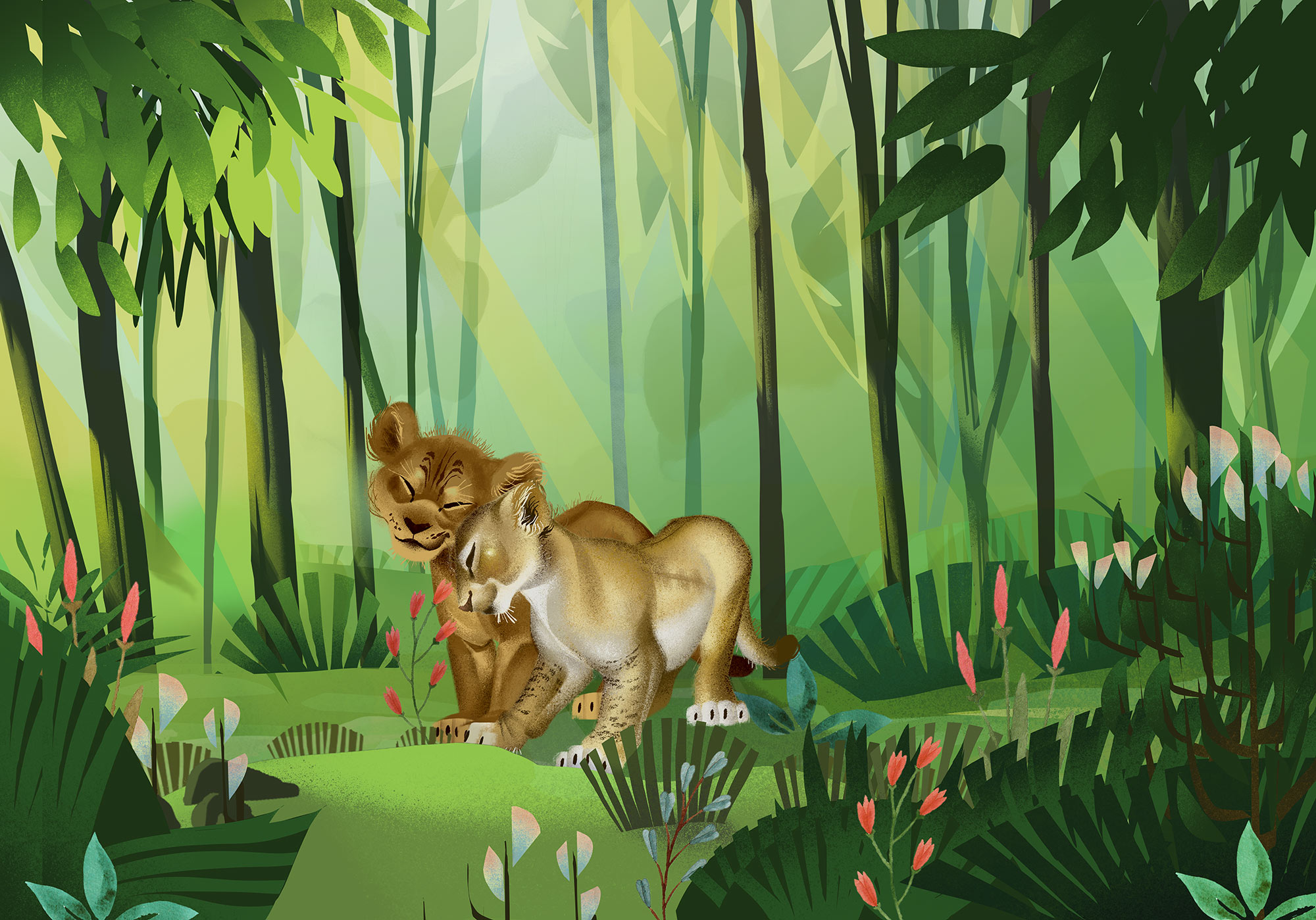 Papier peint enfant Disney jungle Roi Lion Love - Papier peint Panoramique Komar