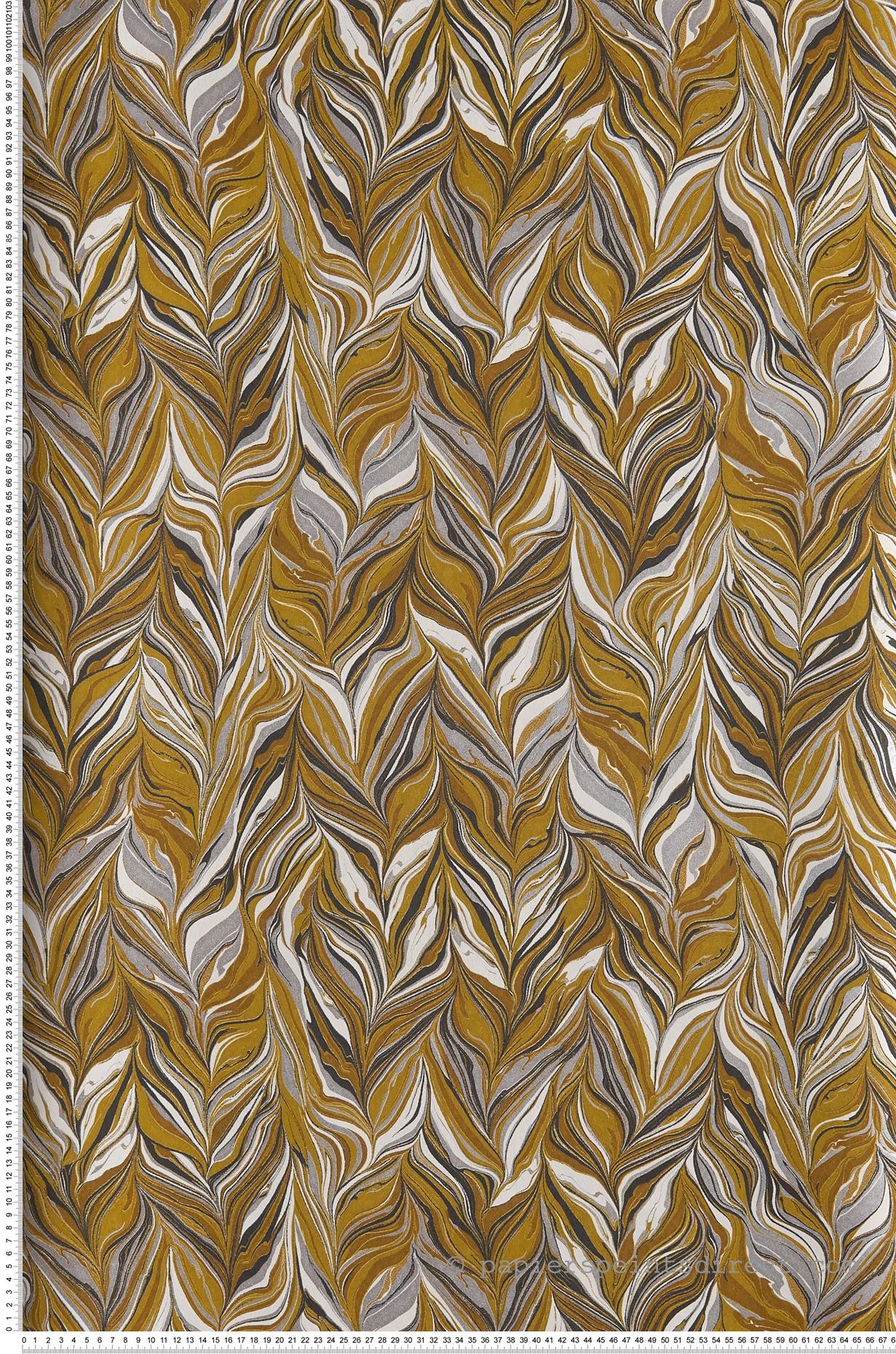 Papier Peint Jaune Moutarde papier peint miller moutarde - ellington de casamance   réf