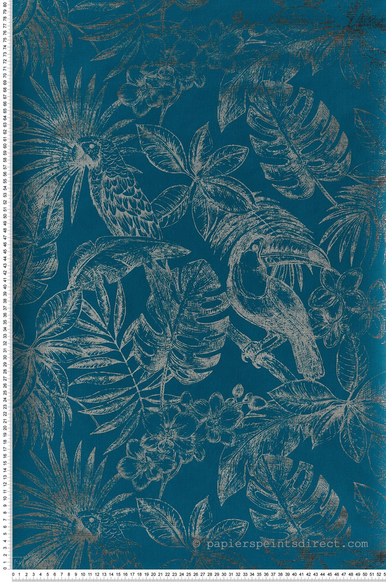 Papier Peint Avec Perroquet papier peint jungle toucan métallisé bleu canard - escapade