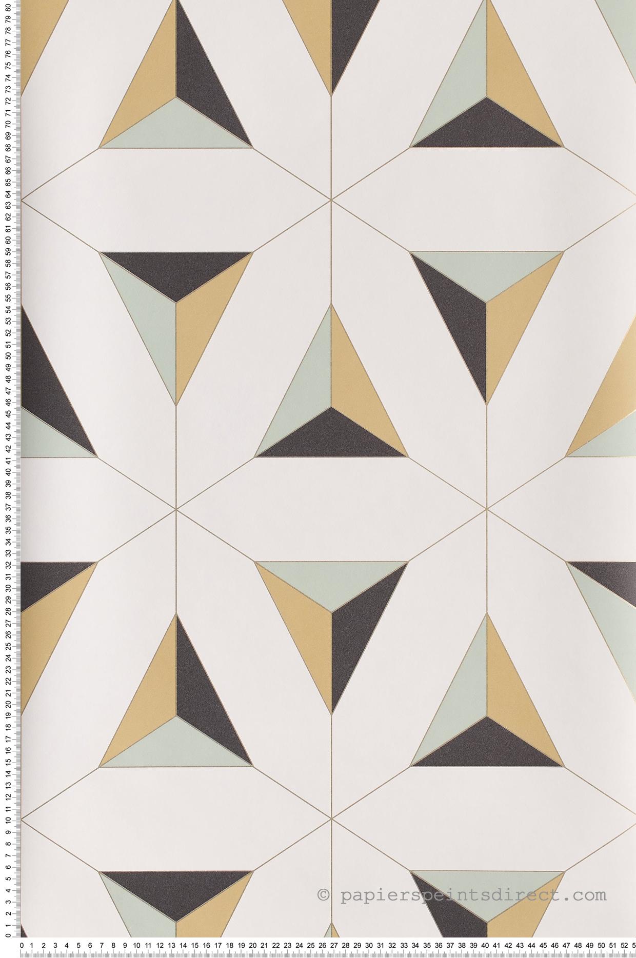 Papier Peint Jaune Moutarde papier peint art géométrique jaune-bleu - hamptons de