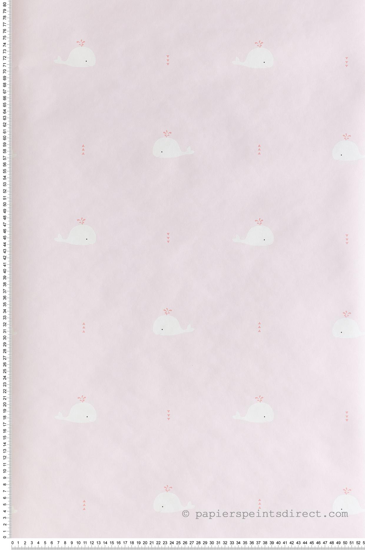 Papier peint enfant Baleine rose/grenadine - Happy Dreams de Casadéco | Réf. HPDM82794220
