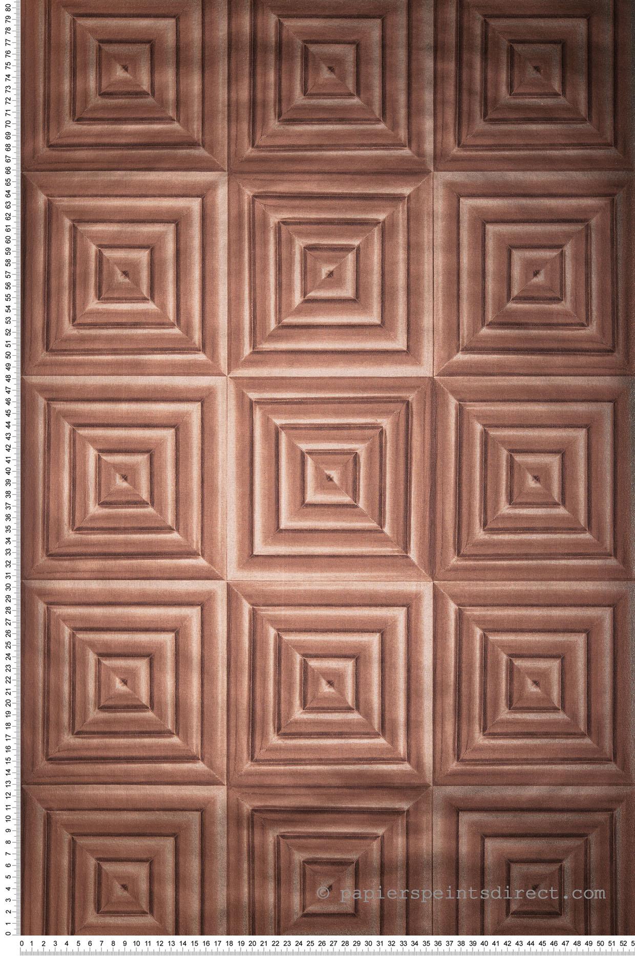 Papier Peint Effet Miroir papier peint 3d carré cuivre rosé - hexagone d'ugépa