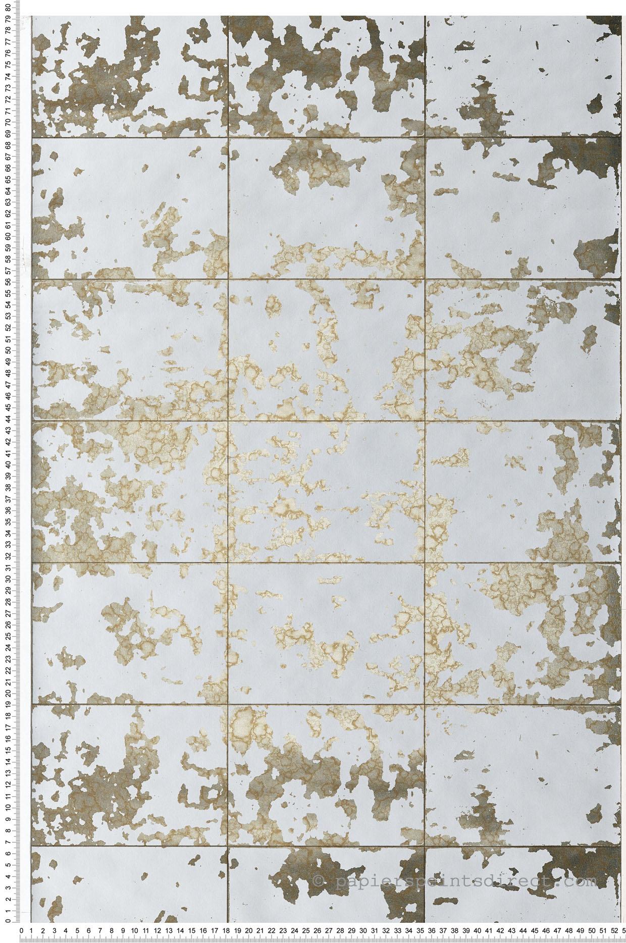 Papier Peint Effet Miroir papier peint dalle miroir gris/doré - hexagone d'ugépa