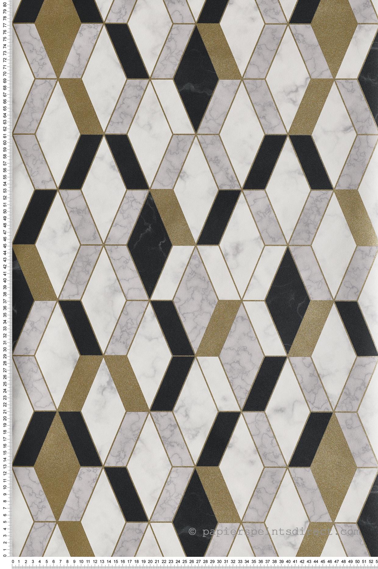 Papier Peint Effet Miroir papier peint marbre géométrique noir/doré - hexagone d'ugépa