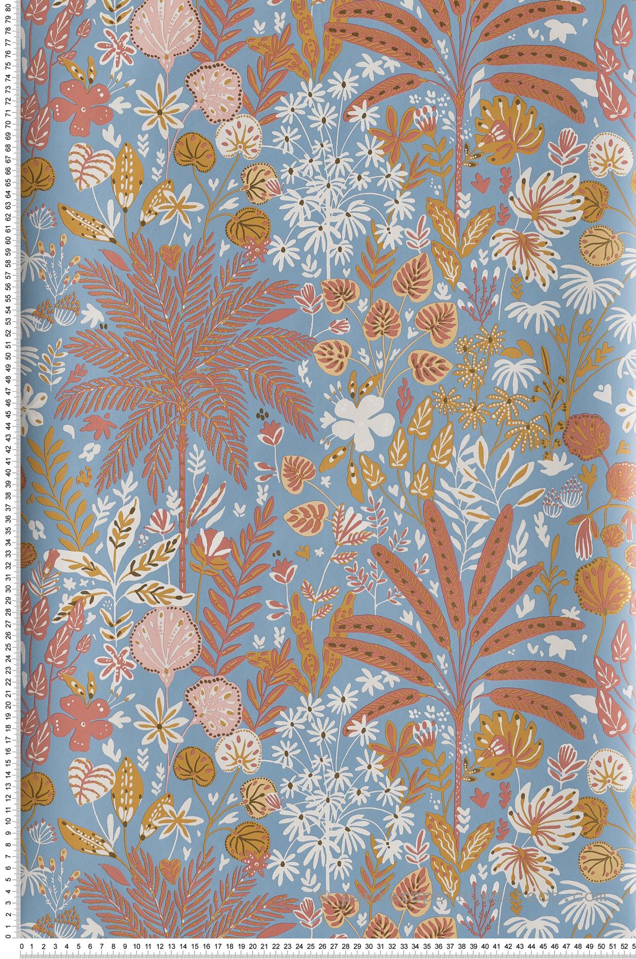 Papier peint jungle tropicale Hope bleu/terracotta/camel - Hygge de Casélio | HYG100596524