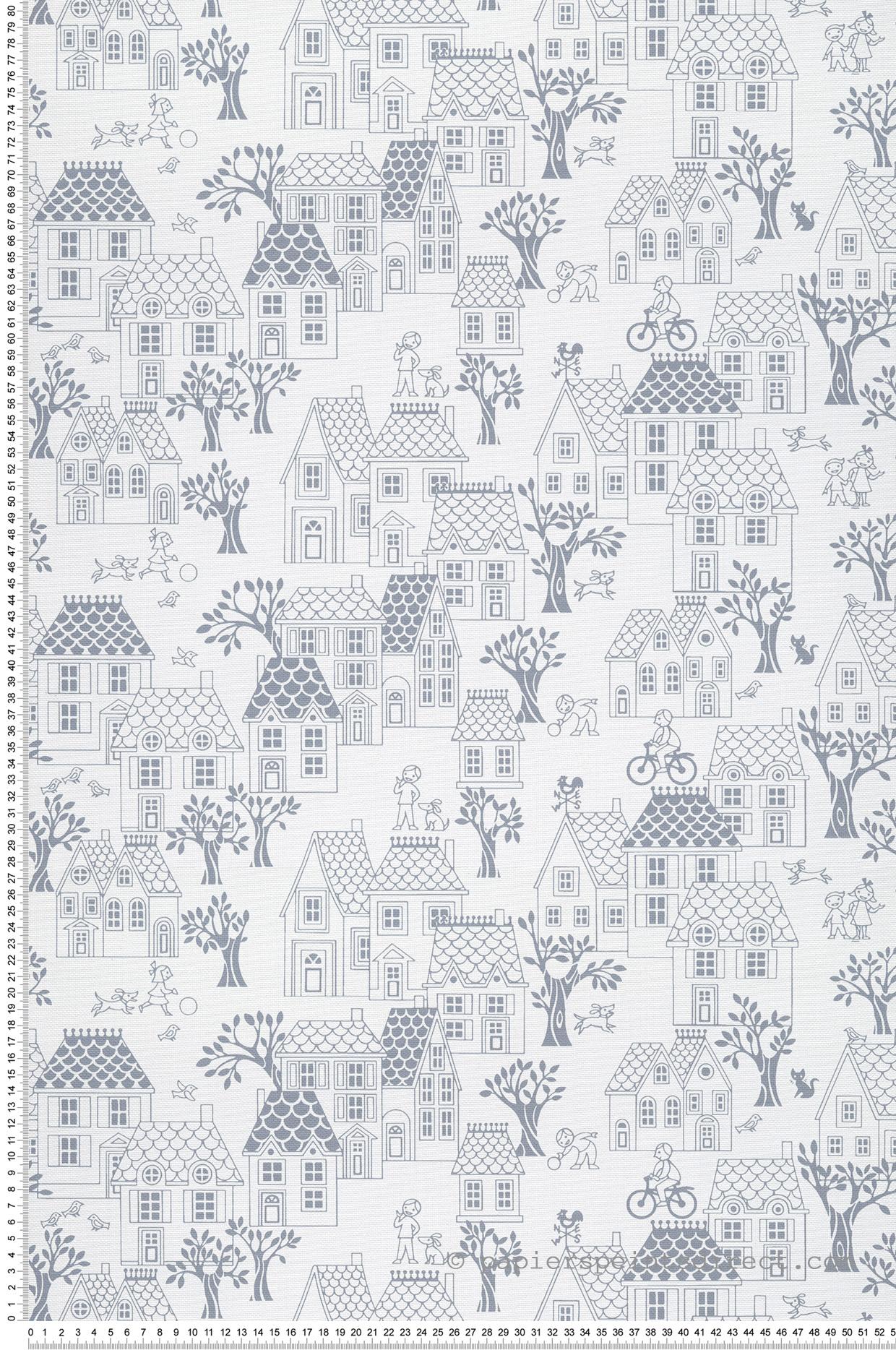 Papier peint enfant Village gris ardoise - Jack N Rose 2 de Montecolino | Réf. MC-LL05074