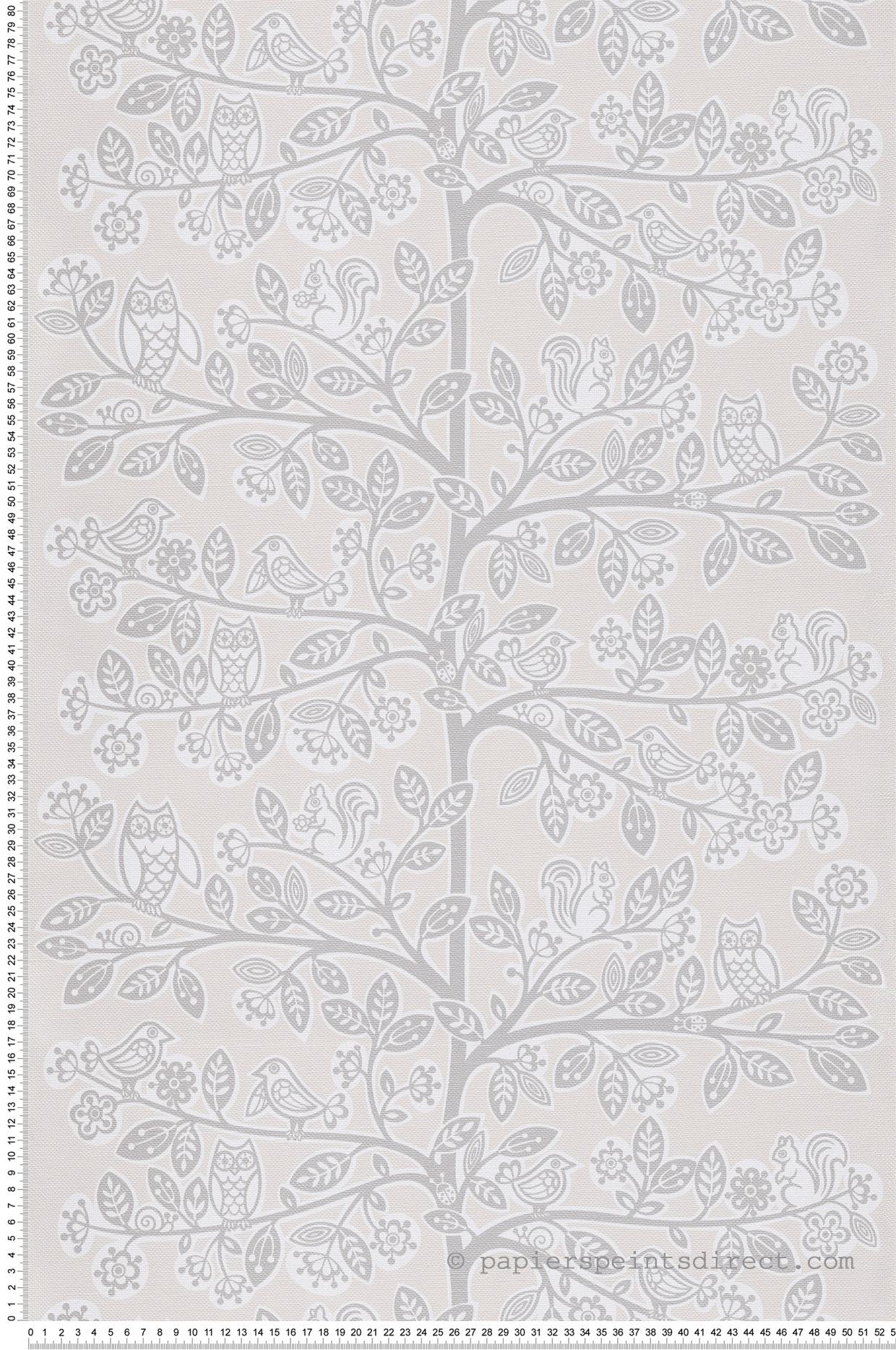 Papier peint enfant Arbre animaux beige - Jack N Rose 2 de Montecolino | Réf. MC-LL06028