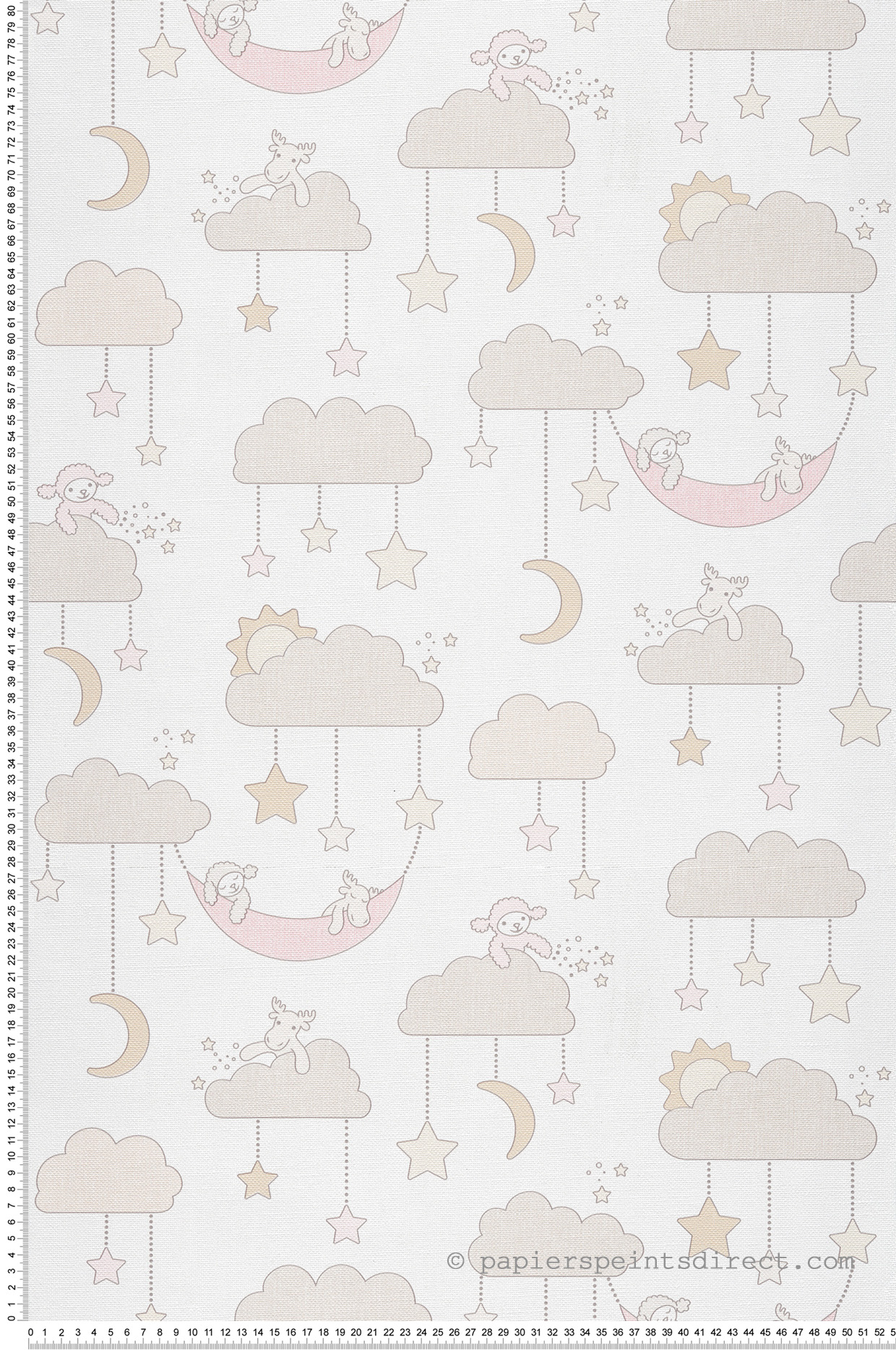 Papier peint bébé Nuages étoilés beige - Jack N Rose 2 de Montecolino | Réf. MC-LL3010