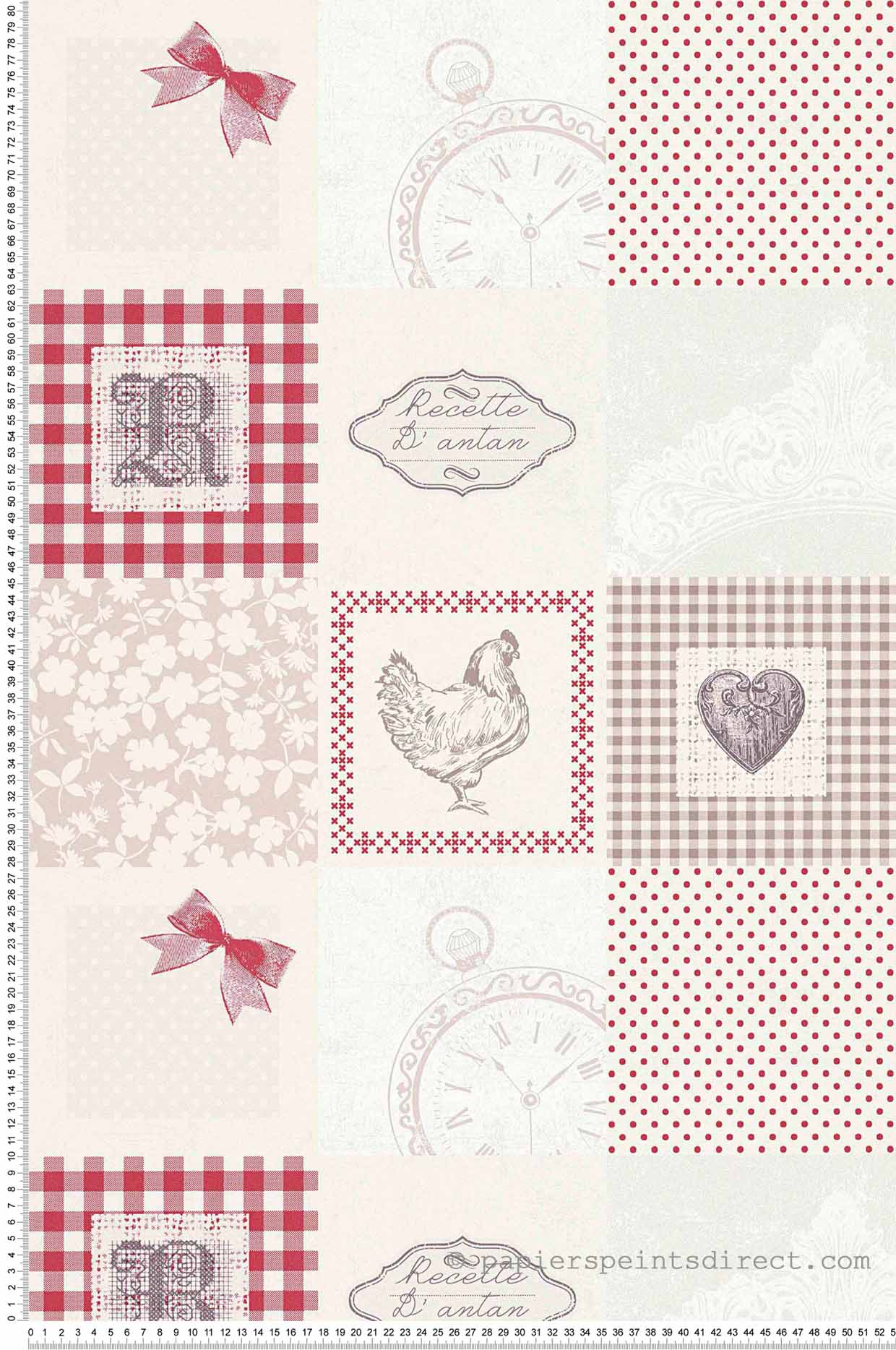 Photo Papier Peint Cuisine papier peint patchwork d'antan rouge - kitchen dreams as