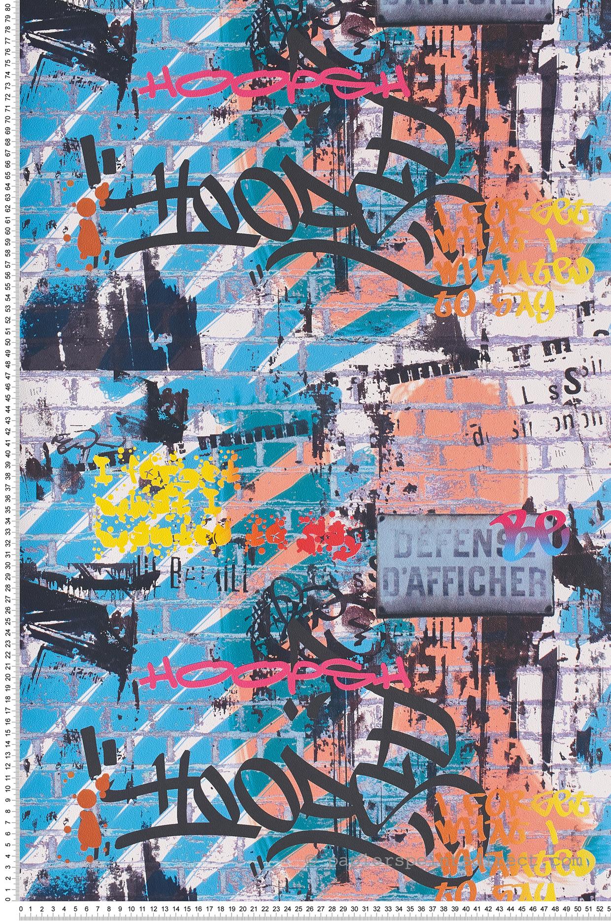 Peinture Tag Pour Chambre papier peint tag multicolore - les aventures de lutèce | réf