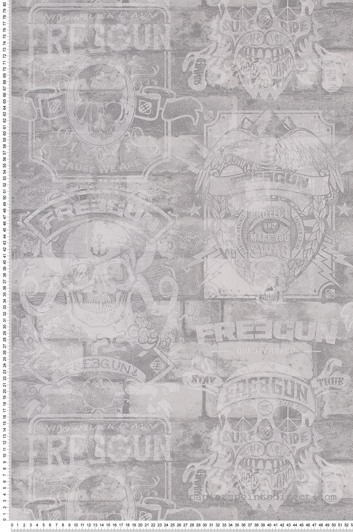 Papier Peint Skull gris - Les aventures de Lutèce    Réf. LTC-51170909