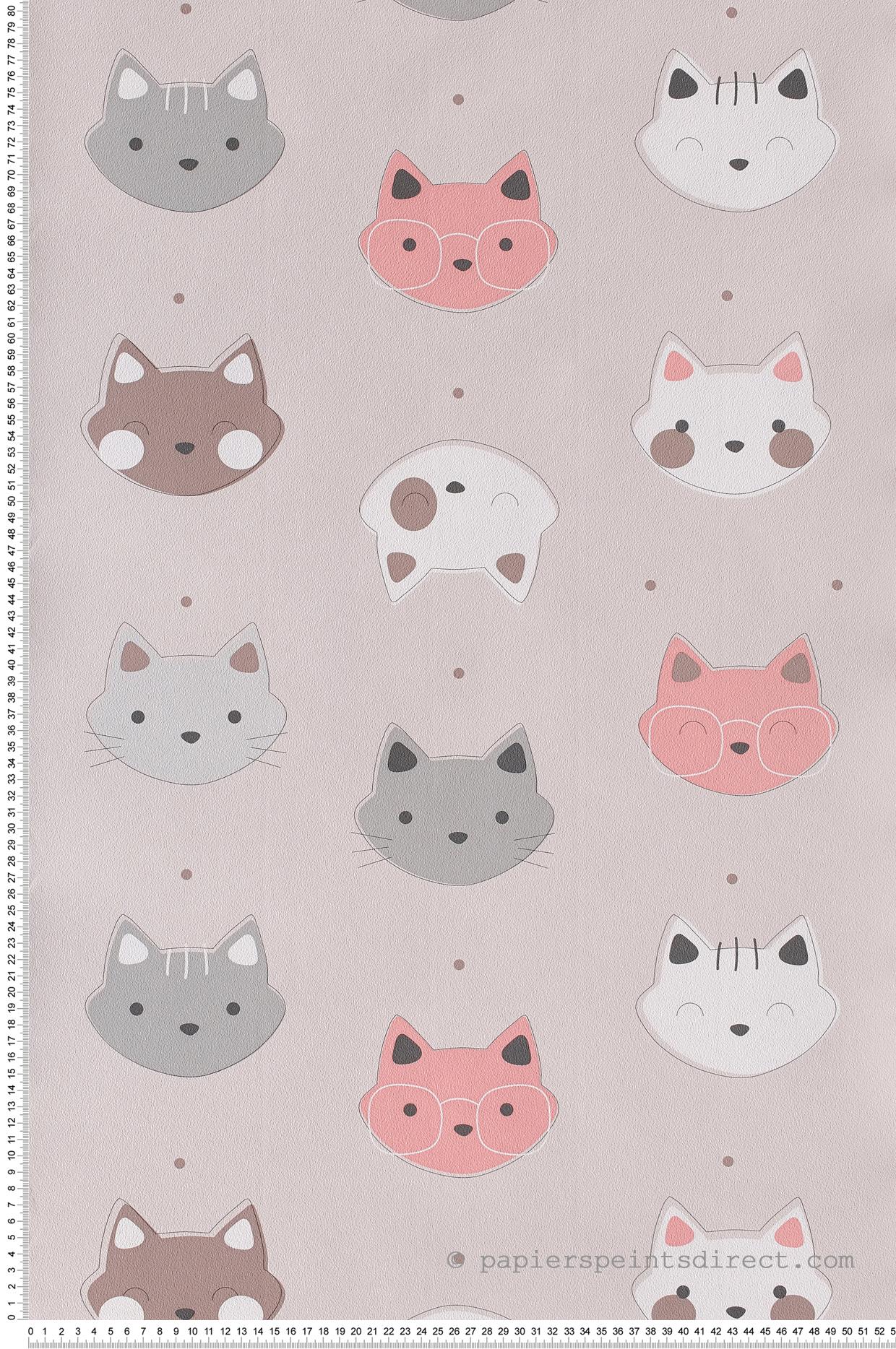 Papier Peint Tête de chat rose - Les aventures de Lutèce  | Réf. LTC-51171903