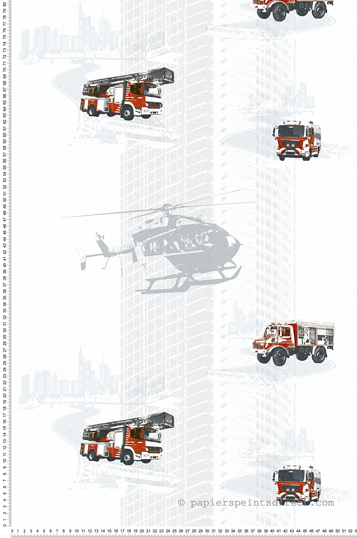 Papier peint camion pompier et hélico blanc - Little Stars AS Création | Réf. SP04341