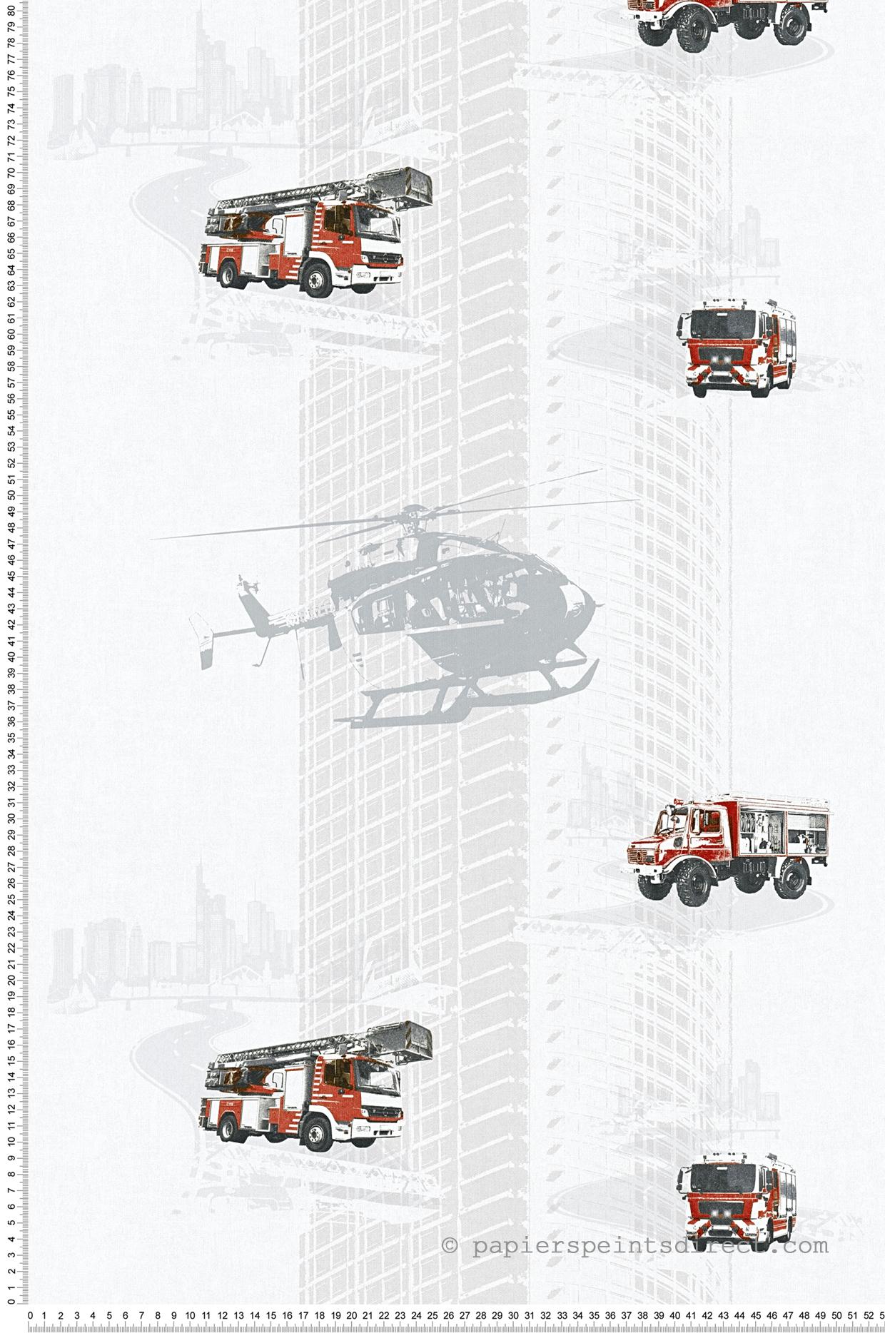 Papier peint camion pompier et hélico gris perle - Little Stars AS Création | Réf. SP04342