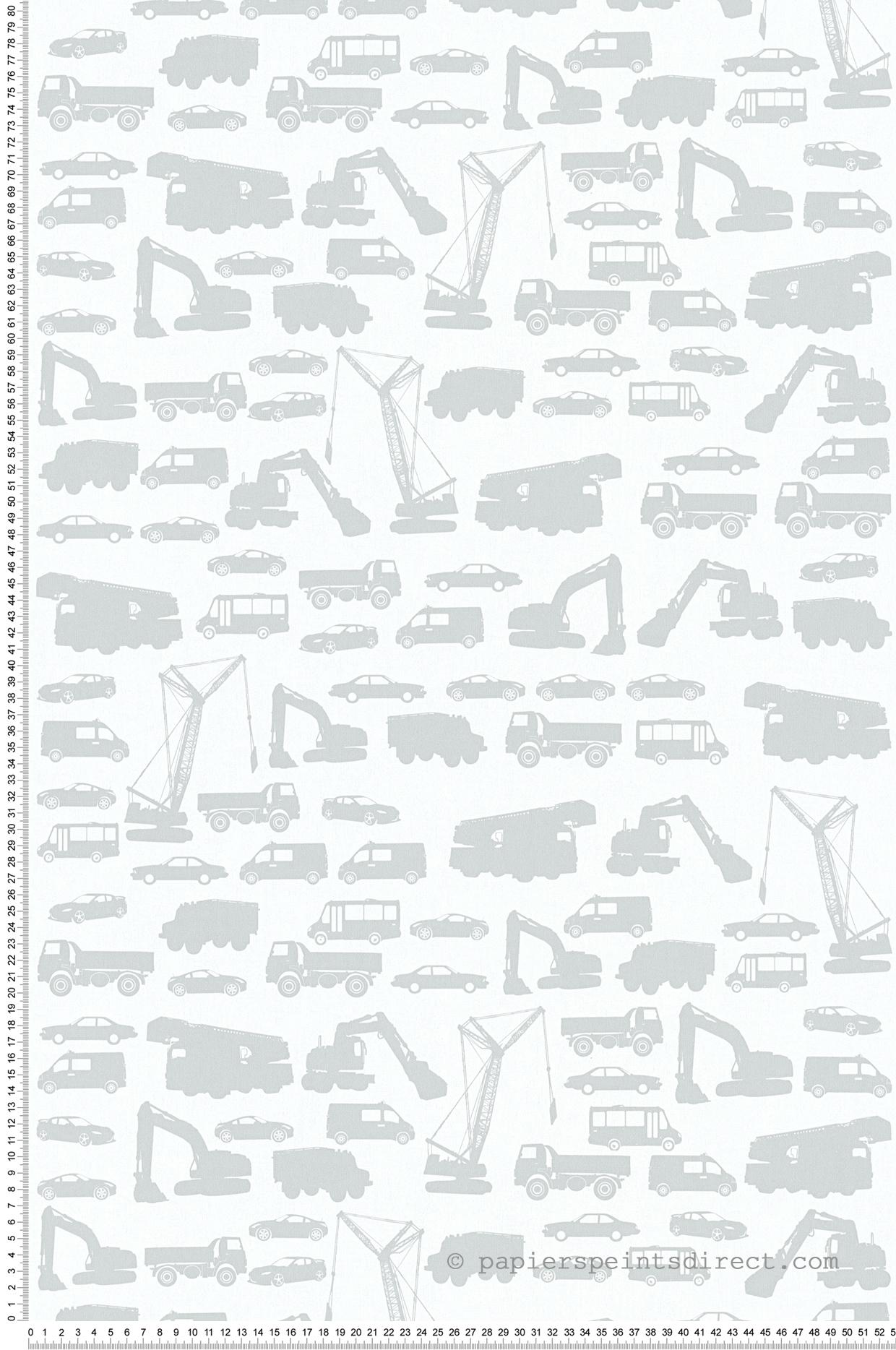 Papier peint véhicules de chantier fond gris perle - Little Stars AS Création | Réf. SP04343
